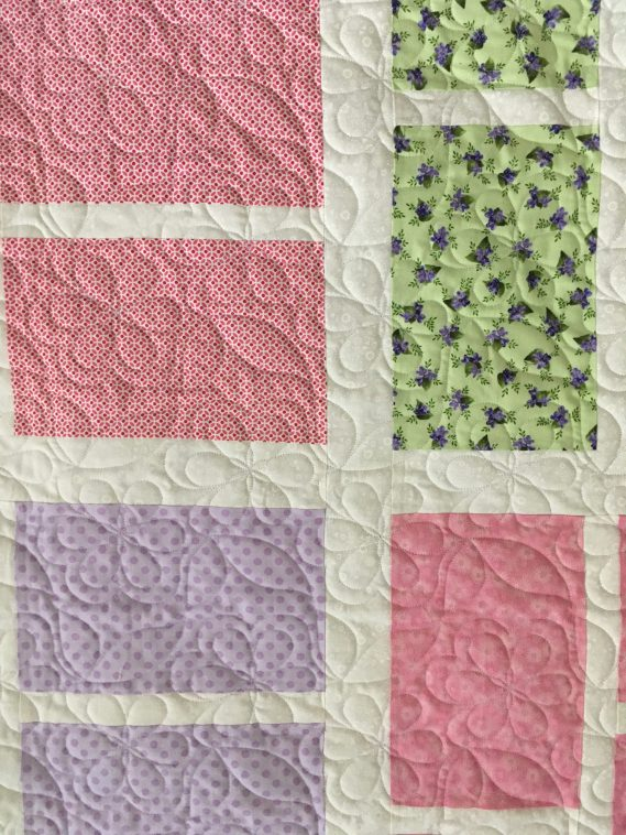 Floral Blocked Quilt close up