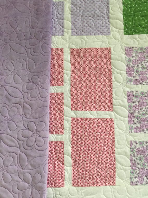 Floral Blocked Quilt with back fabric