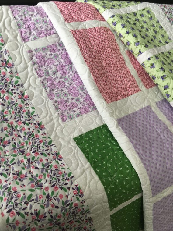 Floral Blocked Quilt folded view